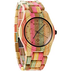 Gazechimp Joya de Mujer Reloj de Cuarzo Analógico Pulsera de Madera Manual Ideal Para Regalo Color Bambú