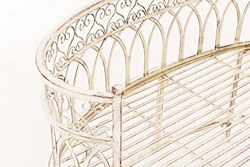 CLP Metall-Gartenbank AMANTI mit Armlehne, Landhaus-Stil, Eisen lackiert, Design antik nostalgisch, Form oval ca. 110 x 55 cm Antik Creme - 4