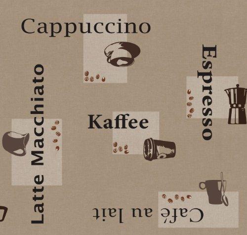 Wachstuch Breite & Länge wählbar - d-c-fix Kaffee Beige Cappuccino Espresso 3854559 - ECKIG 100 x 140 bzw. 140x100 cm abwaschbare Tischdecke Wachstücher Gartentischdecke