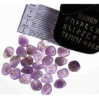Runen Set mit gravierten Edelsteinen im Samtbeutel - Amethyst preisvergleich bei billige-tabletten.eu