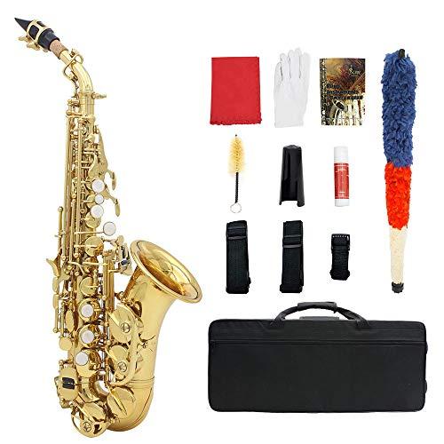WGE SaxophoneB-Wohnung Sopran Professioneller Anfänger Klein gebogen Mit Handtaschen-Blasinstrumenten,Gold (Saxophon Wohnungen)