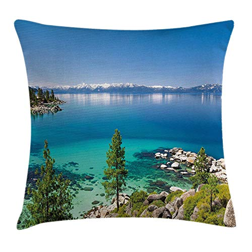 Blue Throw Pillow Cushion Cover, Tranquil View of Lake Tahoe Sierra Pines on Rocks with Turquoise Waters Shoreline, Decorative Square Accent Pillow Case,Blue Grey Green 16x16in -