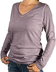 Eight2Nine Damen Longsleeve Shirt V-Neck by RA mit Spitzenborte Langarmshirt