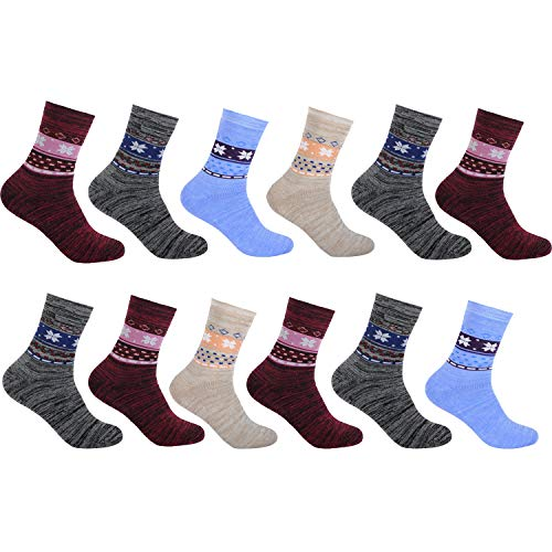 L&K 12 Paar Damensocken Sportsocken Thermosocken gepolsterte Damen Socken Baumwolle Winter 92296 39-42 -