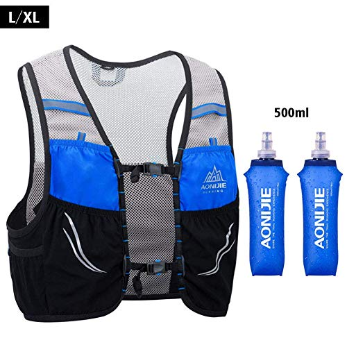 UTOBEST Ultra Running Chaleco de Piel Avanzada 2.5 Set Ligero hidratación Pack para Trail Running, 2.5 L, Unisex, Color Blue-500ML, tamaño L-XL