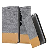 Cadorabo Hülle für Sony Xperia XZ2 Premium - Hülle in HELL GRAU BRAUN – Handyhülle mit Standfunktion und Kartenfach im Stoff Design - Case Cover Schutzhülle Etui Tasche Book