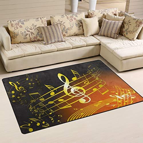 XiangHeFu Teppiche für Wohnzimmer, Esszimmer, Schlafzimmer, Türmatte, dekoratives Musik-Symbol, goldene Noten, 79 x 51 cm, Rutschfeste Bodenmatte, Gesponnenes Polyester, Image 149, 60x39 Inches -