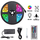 LED Ruban 300 LEDs 5050 RGB IP65 Étanche, Elekin 5M Kit de LED Bande Multicolore Peut-Découpé, 50000H Durée de Vie, Clignotant au Néon Decor Rubans/Télécommande IR 44 Touches/20 Couleurs/12V 5A