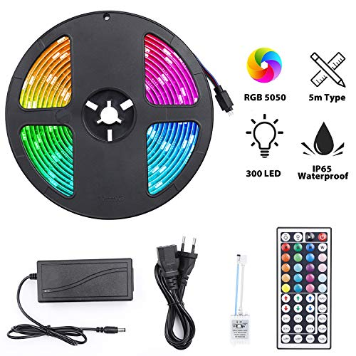 LED Streifen 300 LEDS 5050 RGB IP65 Wasserdicht, Elekin LED Stripes 5M Kit Strip LED Flexibel Multicolor Kann Neon Blinkend Dekor Bänder/Fernbedienung IR 44 Schlüssel / 12V 5A