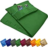 Fit-Flip premium fitness hand towel + zip pocket + magnetic clip - the original Fit-Flip sports towel with 6-way length adjustments, probably the best microfibre multifunctional hand towel, gym towel, moss green