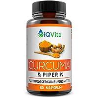 Hochdosierte Curcuma Kapseln mit Piperin - Kurkuma Extrakt mit 95% Curcumin Gehalt - OHNE Magnesiumstearat - Vegan - 60 Kapseln - hergestellt in Deutschland - Zufriedenheitsgarantie - Einführungspreis