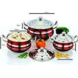 Mahavir Enterprises Stainless Steel Diamond Lpg Compatible Cookware Set, 20 Cm X 20 Cm X 15 Cm, 3 Piece, Red(3DMCLCK)