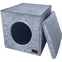 Premium Katzenhöhle von PiuPet® inkl. Kissen | Passend für z.B. IKEA® Kallax & Expedit Regale | Kuschelhöhle in grau | Hochwertiges Material in Filz-Optik | Stilvolles & Modernes Design |