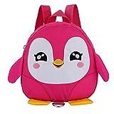 Longra Kinderrucksack Babyrucksack Kindergartenrucksack Kindergartentasche Backpack Schultasche Kinder Pinguin Mini Backpack für Kindergarten Kleinkind Mädchen Jungen Vorschule (Pink)