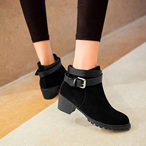 Frestepvie Bottes Classiques Femme Boots Bottine Courtes Ville Confort Chaussure Talon Haut Bloc Black