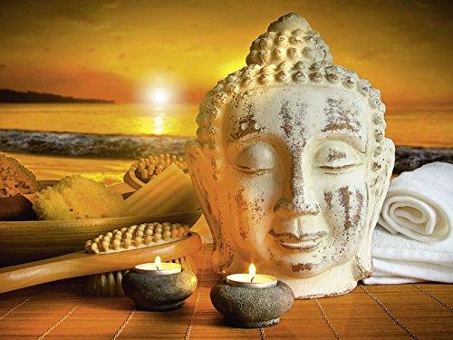 Artland Wandbilder selbstklebend aus Vliesstoff oder Vinyl-Folie Sandralise Bad-Zubehör mit Buddha-Statue bei Sonnenuntergang Fantasy & Mythologie Religion Buddhismus Fotografie Braun C9SQ