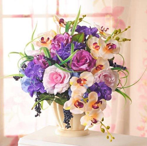 GKA Wunderschönes Blumengesteck mit Topf Vase Orchideen Rosen Trauben Künstliche Blumen Hochzeit Deko Grab