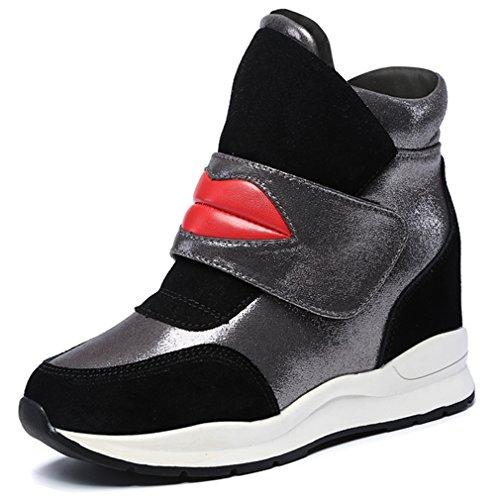 Solshine Damen mit Lippe Mustern Keilabsatz Klettverschluss Stiefeletten Sneaker Wedges Winterstiefel (Mädchen High-top Wedge Sneakers)