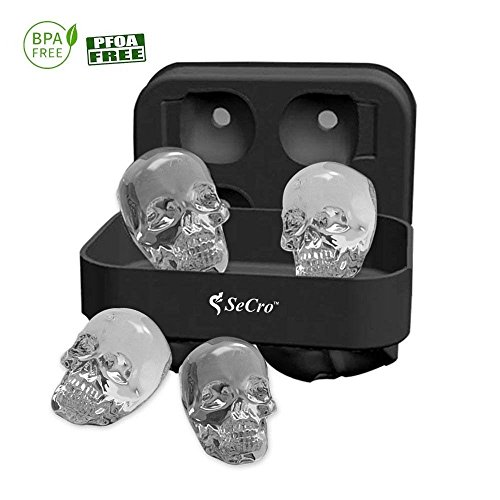 3D Skull Silicone Ice Cube Tray Mold, Makes Four Giant Skulls, Ice...