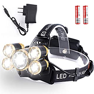 Super Bright Zoomable LED Head Torch - 4 Modes Headlight Waterproof USB Rechargeable,15000 Lumens Headlamp for Outdoor Camping Fishing Hunting Hiking Running Walking Cycling