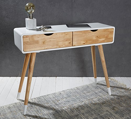 Wholesaler GmbH Weißer Konsolentisch aus Holz mit Zwei Schubladen im skandinavischen Look