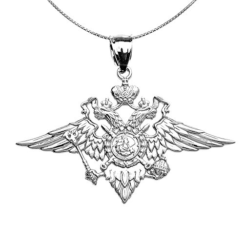 Damen Anhänger Halskette 925 Sterling Silber Doppelköpfig Kaiserlich Adler Russisch Wappen (Kommt mit einem 45cm Kette) -