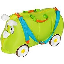 TecTake Maleta de viaje con ruedas para niños coche infantil caja de juguettes verde