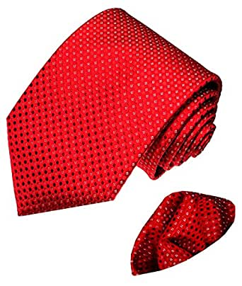 LORENZO CANA - Luxury Set - Neck Tie and Hanky Jacquard Woven Italian 100% Silk Handmade Necktie Ties - Red Dotted Pattern - 8446701
