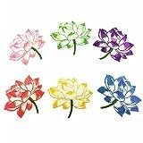 Wicemoon Blumen-Stickerei-Flicken für Kleidung Pailletten-Applikation Kleidung Kleid mit Verzierung für T-Shirt Jeans-Hut, 6 Pcs Colorful, 13x15cm