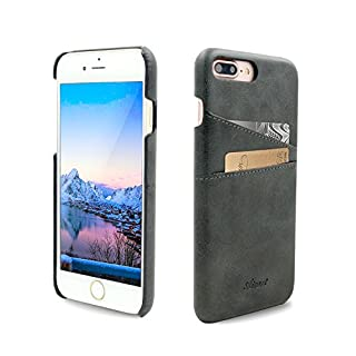 Airart iPhone 7 Plus Card Case, Premium Vintage Soft Leather Wallet Case, Ultra Slim Professional Executive Snap On Back Cover with 2 ID Credit Card Slots Holder for iPhone 7 Plus 5.5 Inch, Black