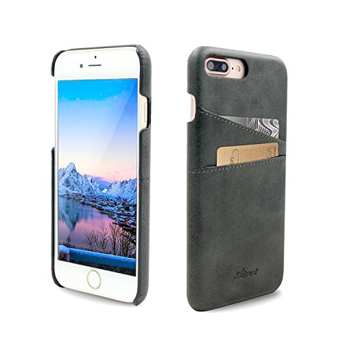 """Funda iPhone 7 Plus, Airart Wallet Case de Cuero Suave Clásico de la Prima, Contraportada Pro Ultra Delgado con 2 Ranuras para Tarjetas de Crédito ID Sostenedor para el iPhone 7 Plus 5,5"""", Negro"""