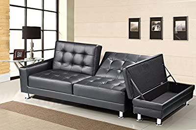 New Contemporary Modern Knightsbridge Faux Leather Storage Ottoman Fold Down Sofa Bed In Black, Red, Dark Cream, White or Brown