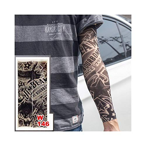 rmel,Motorradhülle Sonnenschutz, Fake Temporäre Tattoo-Ärmel Tattoos Full Long Slip On Arm Tattoo Sleeve Kit Men Elastic Nylon Glove Tattoos Black Skull Design w146 ()