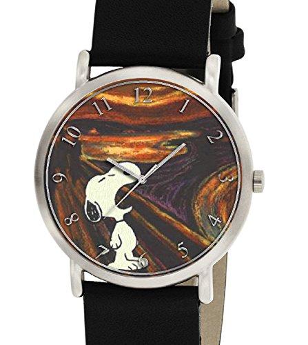 Rare Snoopy Versus Edvand Munch le CRI Angst Existentiels Peanuts Collectible 30mm montre bracelet, unisexe,