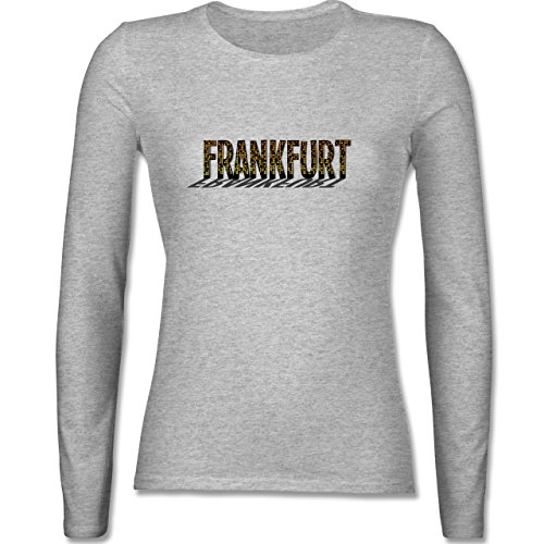 Shirtracer Städte - Frankfurt - Damen Langarmshirt Grau Meliert