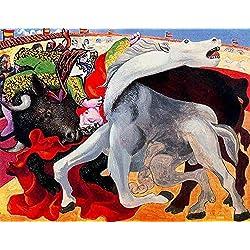 JH Lacrocon Corrida De La Muerte del Toreador 1933 de Pablo Picasso - 120X95 cm Pinturas Abstracto a Mano Reproducción Sobre Lienzo Enrollado Decoración Pared para Salón
