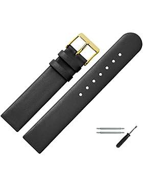 Uhrenarmband 18mm Leder Schwarz Glatt - Inkl. Federstege / Werkzeug - Ersatzband Für Uhren - Uhrband Mit Schlaufe...