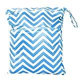 Sac à Couches Lavables pour Bébé Réutilisable Etanche Zippé (Bleu et Blanc)