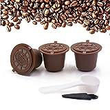 Brbhom riutilizzabile filtro compatibile con macchine da caffè Nespresso capsule di caffè Nespresso capsule ricaricabili con cucchiaino da caffè spazzola Coffee