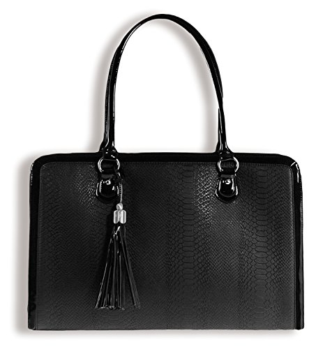 BfB Laptop Bag for Women - Handgefertigte Designer Aktentasche Messenger Tasche 17 Zoll Computertasche- Schwarz - by My Best Friend Is A Bag (Tote Laptop 17zoll)
