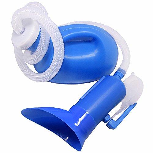 (YUMSUM Weiblich Männlich Unisex Urinal Pissoir Gemeinsam Töpfchen Pee Flasche Reise WC 1000ML mit 1M Schlauch (S,Blau))