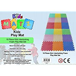 18 PC Kids Interlocking Foam Play Mat Set by ESENO