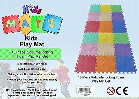 Kinder Puzzlematte Spielmatte (Mehrfarben Spielmatte für Kinder 18-tlg)