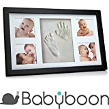 Baby Hand and Footprint 4 Photo Frame Kit ® Babyboon | The Perfect Keepsake for a Baby Shower or Christening Gift | Fantastic Impressions of Hands and Foot (Black)