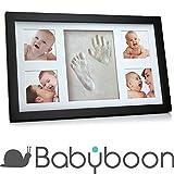 Baby Hand- und Fußabdruck-Set mit Bilderrahmen von  Babyboon | 4 FARBEN IN EINER PACKUNG | Das perfekte Geschenk für frischgebackene Eltern oder als Taufgeschenk | Perfekter Hand- und Fußabdruck – ÜBERZEUGEN SIE SICH SELBST! (schwarz)