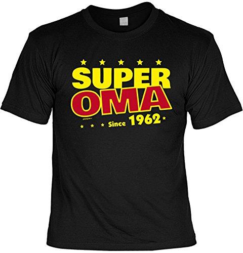 T-Shirt zum Geburtstag: Super Oma since 1962 - Tolle Geschenkidee - Baujahr 1962 - Farbe: schwarz Schwarz