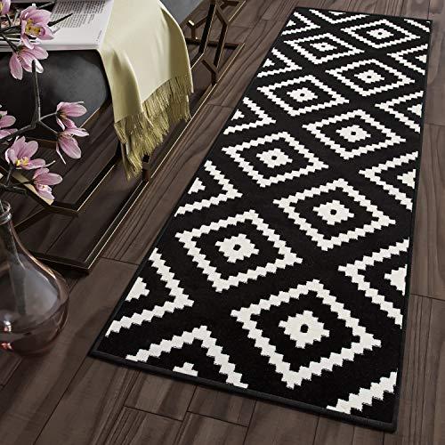 Tapiso LÄUFER BRÜCKE Flur Teppich - Muster KARO MODERN IN SCHWARZ WEIß 120 x 300 cm - Schwarzer Flokati-teppich