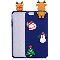 Para iPhone 6 Plus / iPhone 6S Plus Funda de la serie Christmas Series, HengJun Christmas Slim Funda de silicona suave 3D Moda creativa Caricatura de goma a prueba de choques linda para iPhone 6 Plus / iPhone 6S Plus - Ciervo y Papá Noel azul