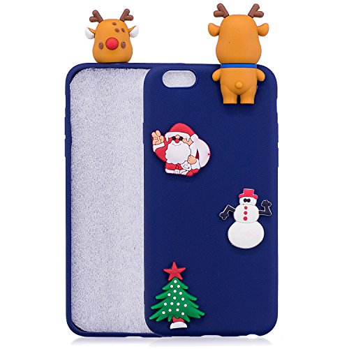 Cover iPhone 6 Plus Spiritsun Case iPhone 6S Plus Custodia Silicone Moda Ultraslim Soft TPU Case 3D Diy Handy Kawaii Christmas Cover Souple Flessibile Phone Case Per iPhone 6S Plus / 6 Plus (5.5 Polli Santa Clause 2