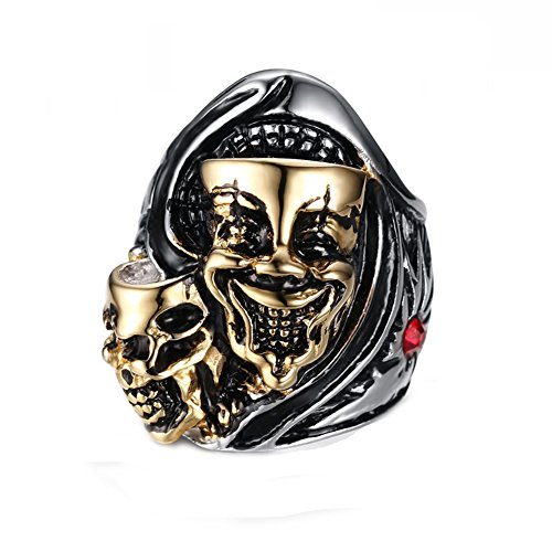 Heyrock Two Heads Ghost Ring Stainless Steel Men Punk Rock Jewelry (60) -